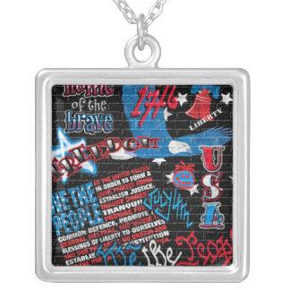 American Graffiti Square Pendant Necklace