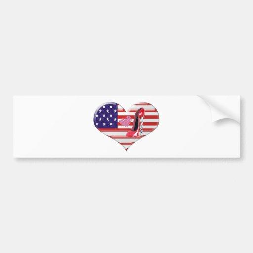 American Heart Flag and Corkscrew stiletto Shoe Bumper Stickers