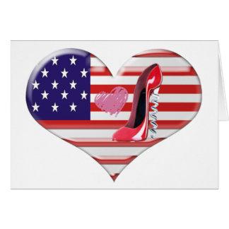 American Heart Flag and Corkscrew stiletto Shoe Card
