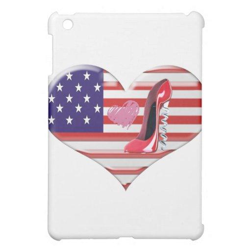 American Heart Flag and Corkscrew stiletto Shoe iPad Mini Cover