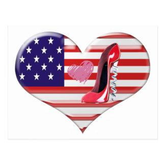 American Heart Flag and Corkscrew stiletto Shoe Postcard
