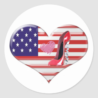 American Heart Flag and Corkscrew stiletto Shoe Round Sticker