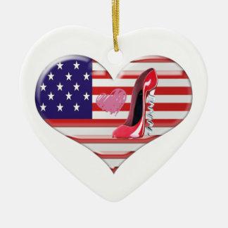 American Heart Flag and Stiletto Shoe Ornament