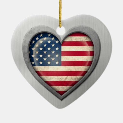 American Heart Flag Stainless Steel Effect Ornaments