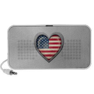 American Heart Flag Stainless Steel Effect Mp3 Speakers