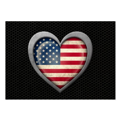 American Heart Flag Steel Mesh Effect Business Card Template