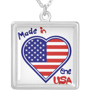 American Heart Flag USA  Silver Necklace Necklace