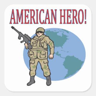 American Hero Square Sticker