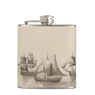 American History - Sailing from Halifax Hip Flask