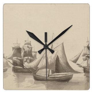 American History - Sailing from Halifax Square Wall Clock