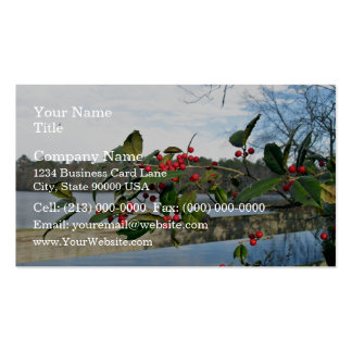 American Holly showing red berries and rigid leaf Business Cards