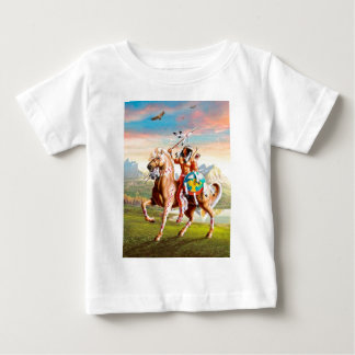 American Indian Brave on Horse Baby T-Shirt