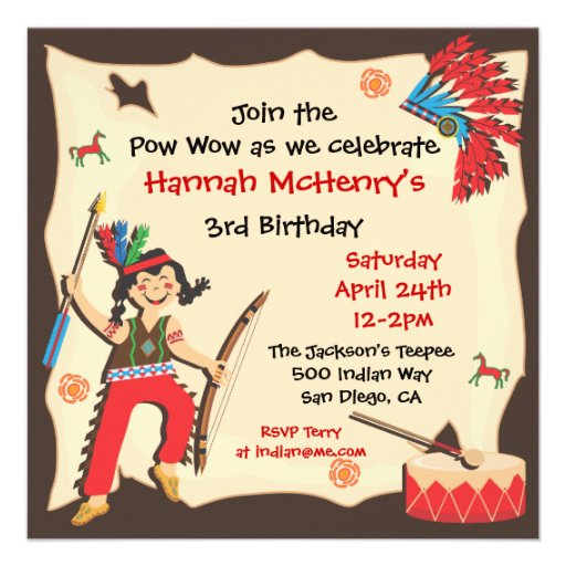 American Indian Girl Birthday Party Invitation