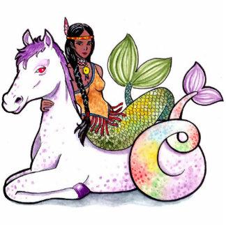 American Indian Mermaid and merhorse Standing Photo Sculpture