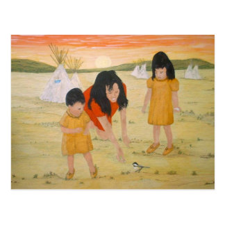 American Indian Mother with Daughters Postcard