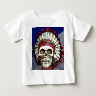 American Indian Skull With Feathers Baby T-Shirt