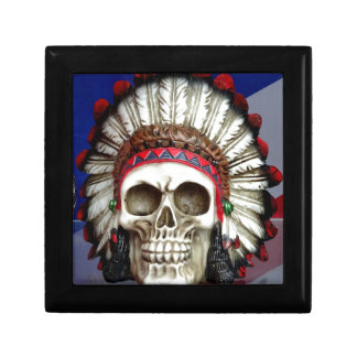 American Indian Skull With Feathers Gift Box