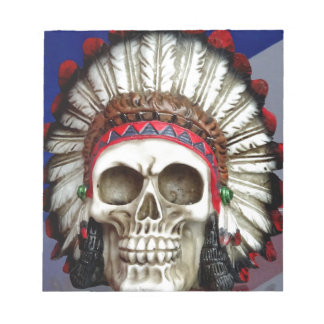 American Indian Skull With Feathers Notepad