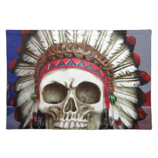 American Indian Skull With Feathers Placemat