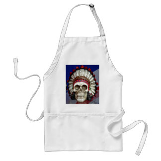 American Indian Skull With Feathers Standard Apron