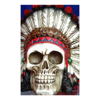 American Indian Skull With Feathers Stationery