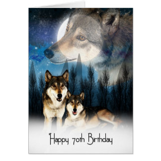 American Indian Style Wolf Birthday Card 70th