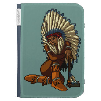 American Indian Woman Feather Tomahawk Pixel Kindle 3G Covers