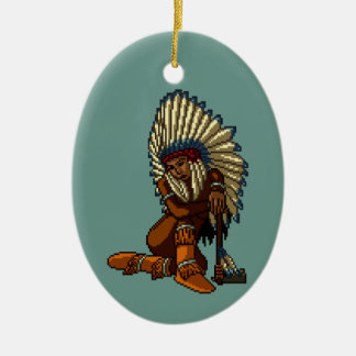 American Indian Woman Feather Tomahawk Pixel Christmas Ornaments