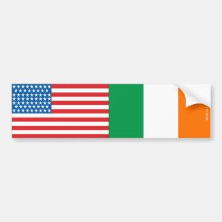 American & Ireland Flag Bumper Sticker