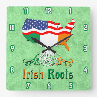 American Irish Roots Square Wall Clock