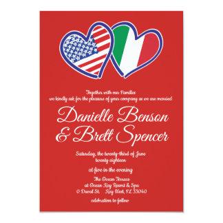 American Italian Love Wedding Invitation