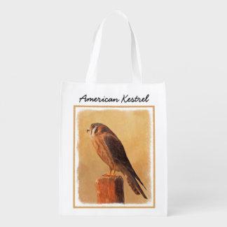 American Kestrel Painting - Original Bird Art Reusable Grocery Bag