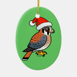 American Kestrel Santa Ceramic Ornament