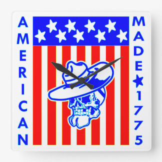 American Made 1775 Skull Flag Soldier Square Wall Clock
