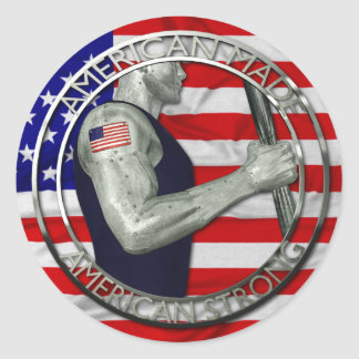American Made American Strong Classic Round Sticker