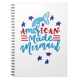 American Made Mermaid. Cute Sayings Notebook