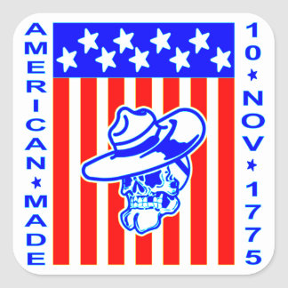 American Made Skull Flag 10 Nov 1775 Square Sticker