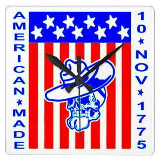 American Made Skull Flag 10 Nov 1775 Square Wall Clock