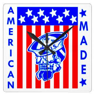 American Made Skull Flag Sailor Square Wall Clock