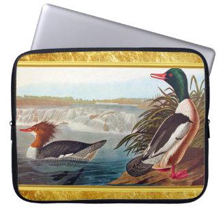 American mallard ducks in a river swimming laptop sleeve