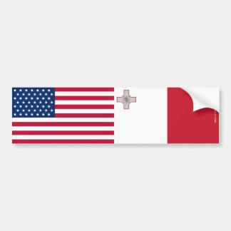 American & Maltese Flags Bumper Sticker