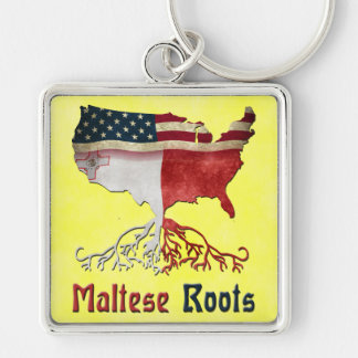 American Maltese Roots Keyring Silver-Colored Square Key Ring