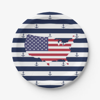 American map flag   nautical stripes pattern 7 inch paper plate
