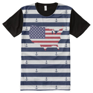 American map flag | nautical stripes pattern All-Over print T-Shirt
