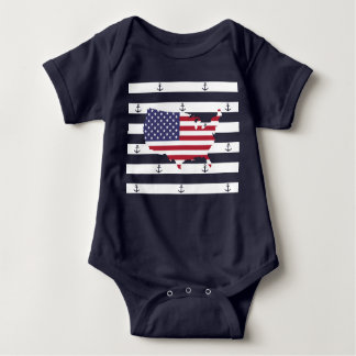 American map flag | nautical stripes pattern baby bodysuit