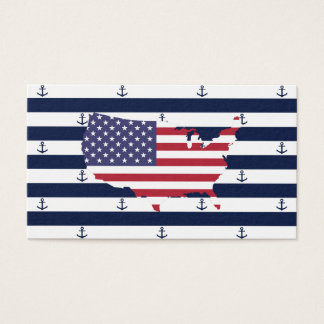 American map flag | nautical stripes pattern business card