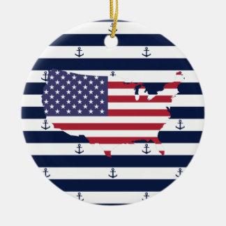 American map flag   nautical stripes pattern ceramic ornament