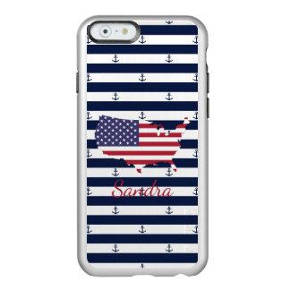 American map flag   nautical stripes pattern incipio feather® shine iPhone 6 case