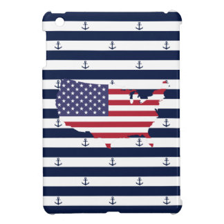 American map flag   nautical stripes pattern iPad mini case
