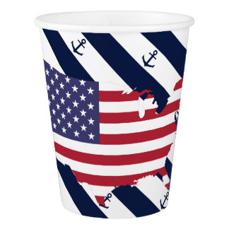 American map flag | nautical stripes pattern paper cup